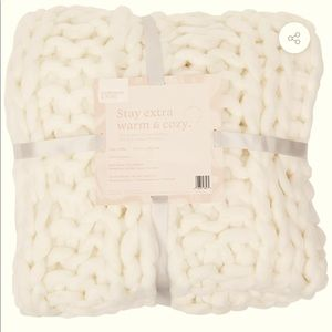 Cream Chunky Blanket Mia Knitted Throw Summer Rose
